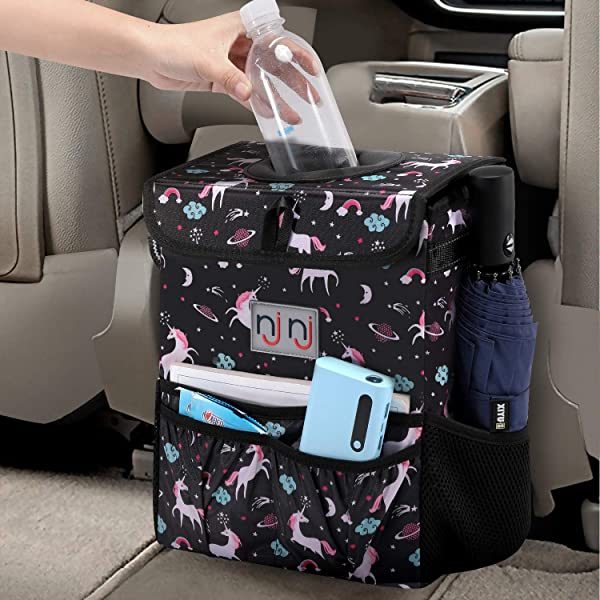 Waterproof Car Garbage Can 100/% Leak-Proof Car Organizer Multipurpose Trash Bin for Car HOUSE DAY Car Trash Can with Lid and Storage Pockets Black 2.4 Gallons