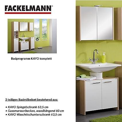 Fackelmann KAYO 3–Piece Bathroom Furniture Set Washbasin / Sink / Spiegel