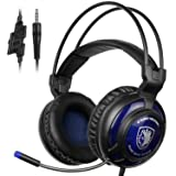 SADES SA805 Wired Stereo Gaming Headset with Mic for PS4/New Xbox One/PC Computers/Mac/ (Black Blue) (Color: SA805 Blue)