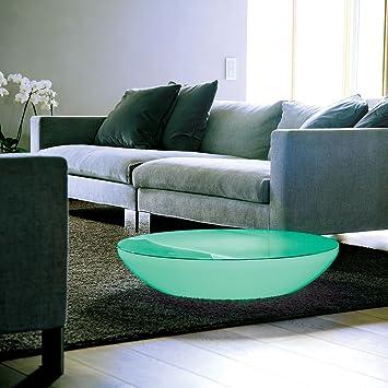 Lounge Variation LED Pro - Table lumineuse blanc/translucide/inkl. plateau de table/multicolor LEDs/infrarouge (IR)/avec télécommande/H 18cm/Ø 84.5cm