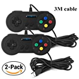 Exlene® Usb Controller Gamepads Joystick 10ft/3m (2pack),Usb Snes Controller Super Snes Classic Controller for PC Windows Ubuntu Raspberry Pi 3 Retropie Sega Genesis (Color: Black, Tamaño: 2PACK SNES black 3m)