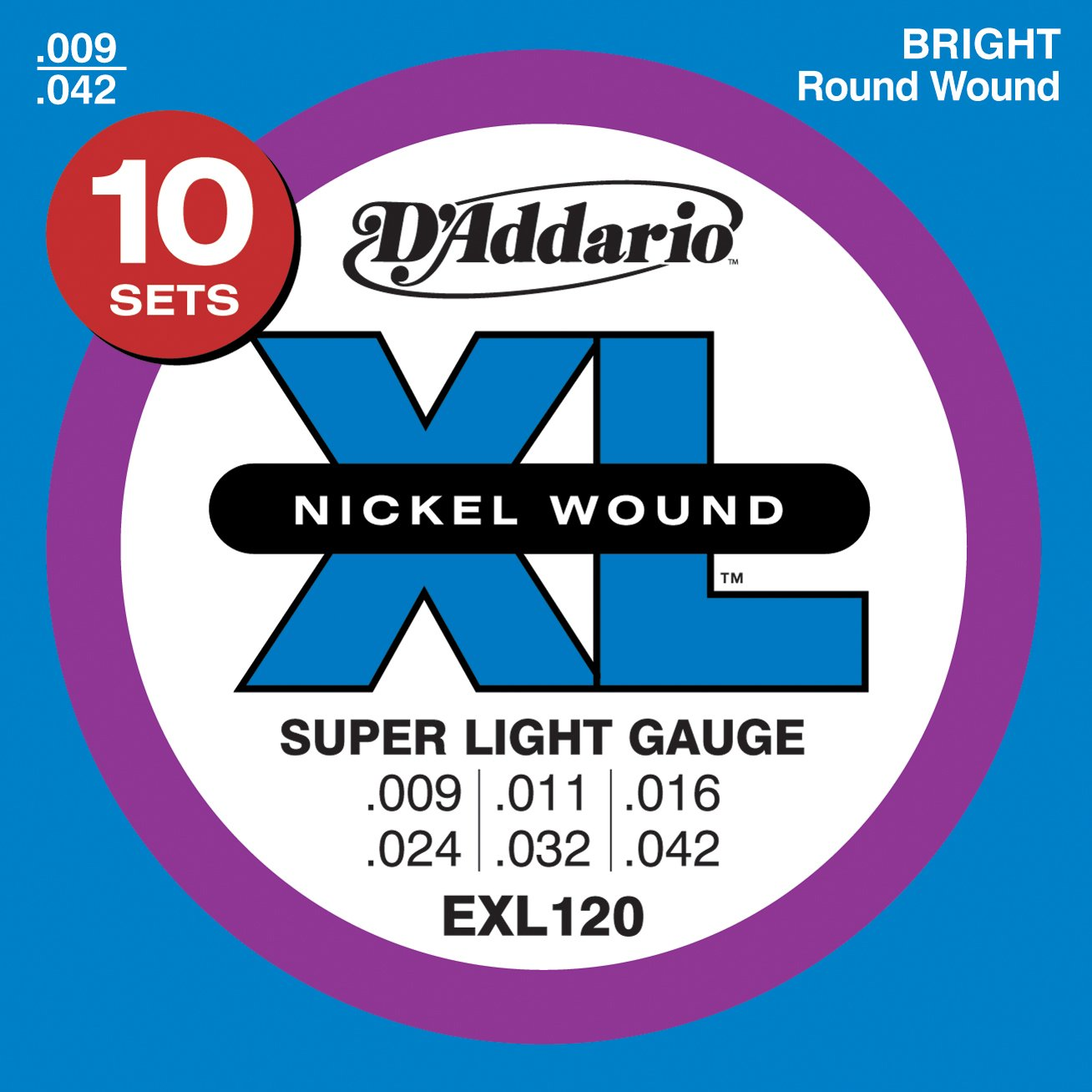 D&#8217;Addario EXL120-10P Nickel Wound Electric Guitar Strings, Super Light, 9-42, 10 Sets $16.99