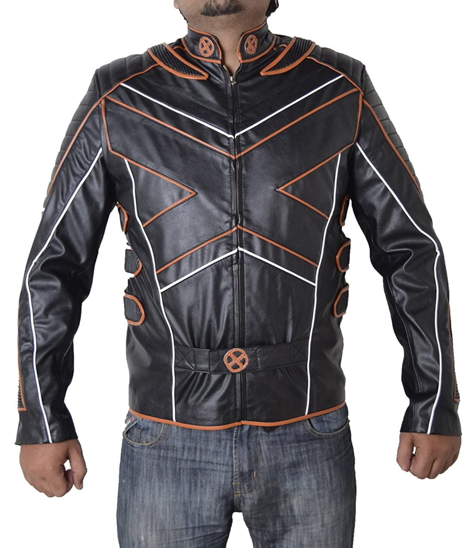 Xmen Wolverine Huge Jackman X Faux Leather Jacket with Orange Pipen