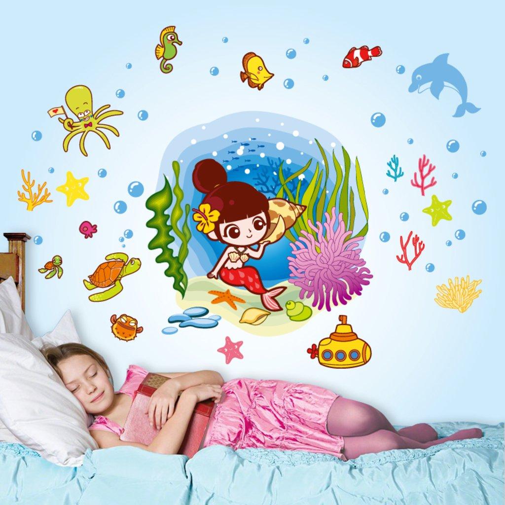 'Underwater Mermaid and Creatures' Wall Sticker