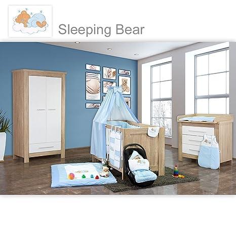 Babyzimmer Enni 10-tlg. in der Farbe Sonoma / Weiß mit 2 turigem Kl. + Textilien Sleeping Bear, Blau