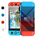 Dockable Case Compatible with Nintendo Switch, FYOUNG Protective Accessories Cover Case Compatible with Nintendo Switch and Nintendo Switch Joy-Con with Thumbstick Caps- Blue Red (Color: Blue and red)