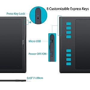 Huion Inspiroy Q11K V2 Graphic Drawing Tablet Tilt Function Battery