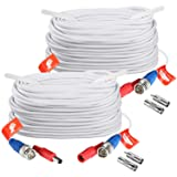 ZOSI 2 Pack 100ft (30 Meters) 2-in-1 Video Power Cable, BNC Extension Surveillance Camera Cables for Video Security Systems (Included 2X BNC Connectors and 2X RCA Adapters)-White Color (Color: 2 PACK(White), Tamaño: 100 feet)