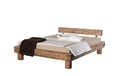 Bett Namur, Akazie massiv, sandgestrahlt und gebeizt, 180 x 200 cm