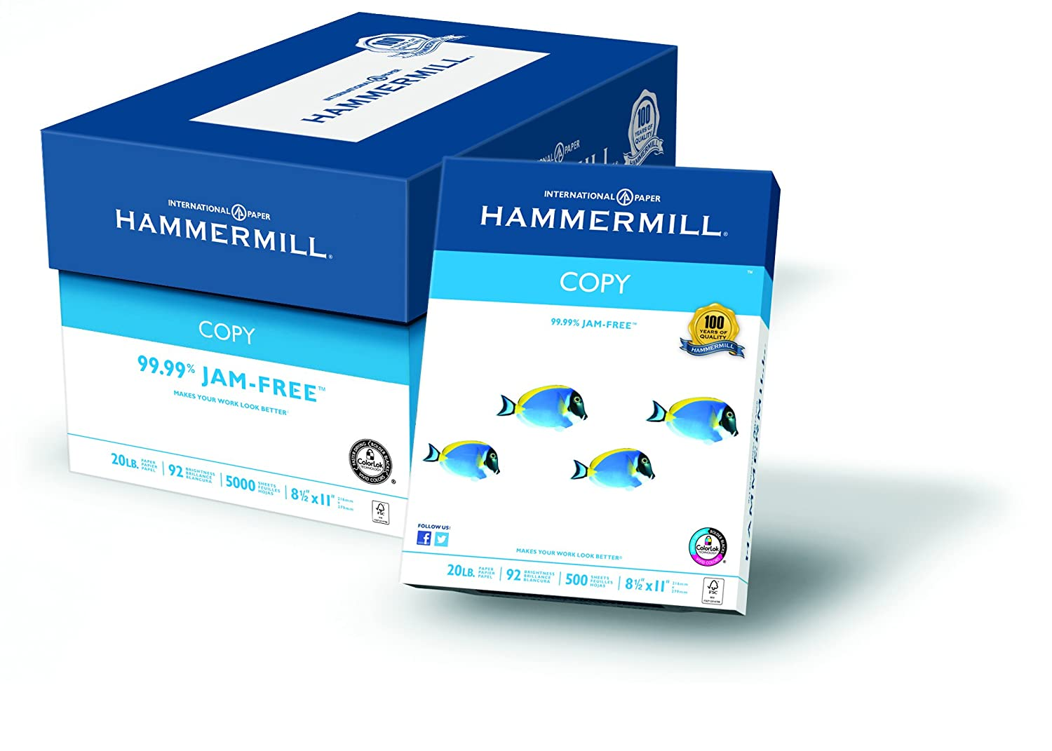 Hammermill Copy Paper, 20lb, 8-1/2 x 11, 92 Bright, 5000 Sheets/10 Ream Case (150010C)