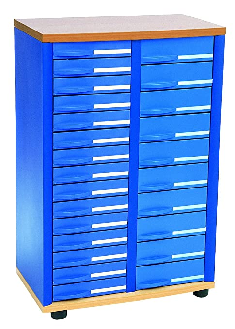 Rexel - Comptoir Stratis 25 Tiroirs, 2 colonnes (975x636x368mm, Bleu)