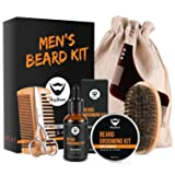 MayBeau Beard Kit for Men 8 in 1 Beard Growth Grooming & Trimming with Unscented Leave-in Conditioner Oil,Beard shaping, Beard Balm Butter Wax, Brush and Comb Ultimate Trimmer Set for Men (Tamaño: Set of 8)