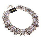 Jerollin Vintage Gold Tone Chain Multi-Color Glass Crystal Charm Choker Statement Collar Necklace (Color: White)