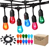 Outdoor String Lights Multicolored, 17.3 Ft Weatherproof Connectable Decorative Commercial Lighting Strands with 10 Hanging Sockets and Colored S14 Bulbs for Home, Business or Party Decoration (Color: Black)