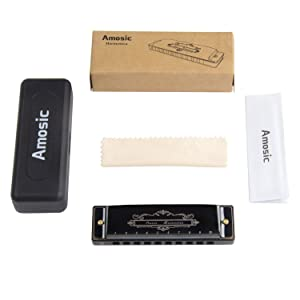 Amosic Diatonic Blues Harmonica Key of C 10 Holes 20 Tones for Beginners and Professional Players with a Black Case