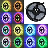 elcPark 16.4ft 5m RGB Dream Color Flexible LED Light Strip 6803 IC SMD 5050 Waterproof IP67 150LED DC 12V 133 Color Change RF Remote (Color: RGB)