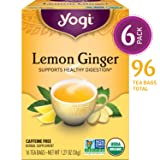 Yogi Tea - Lemon Ginger - Supports Healthy Digestion - 6 Pack, 96 Tea Bags Total (Tamaño: Pack of 6)