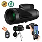 Monocular Telescope High Power, 12x50 Waterproof Monoculars HD Dual Focus Scope for Adults Compact Outdoor Bird Watching Hunting Camping Traveling Wildlife Scenery with Smartphone Adapter