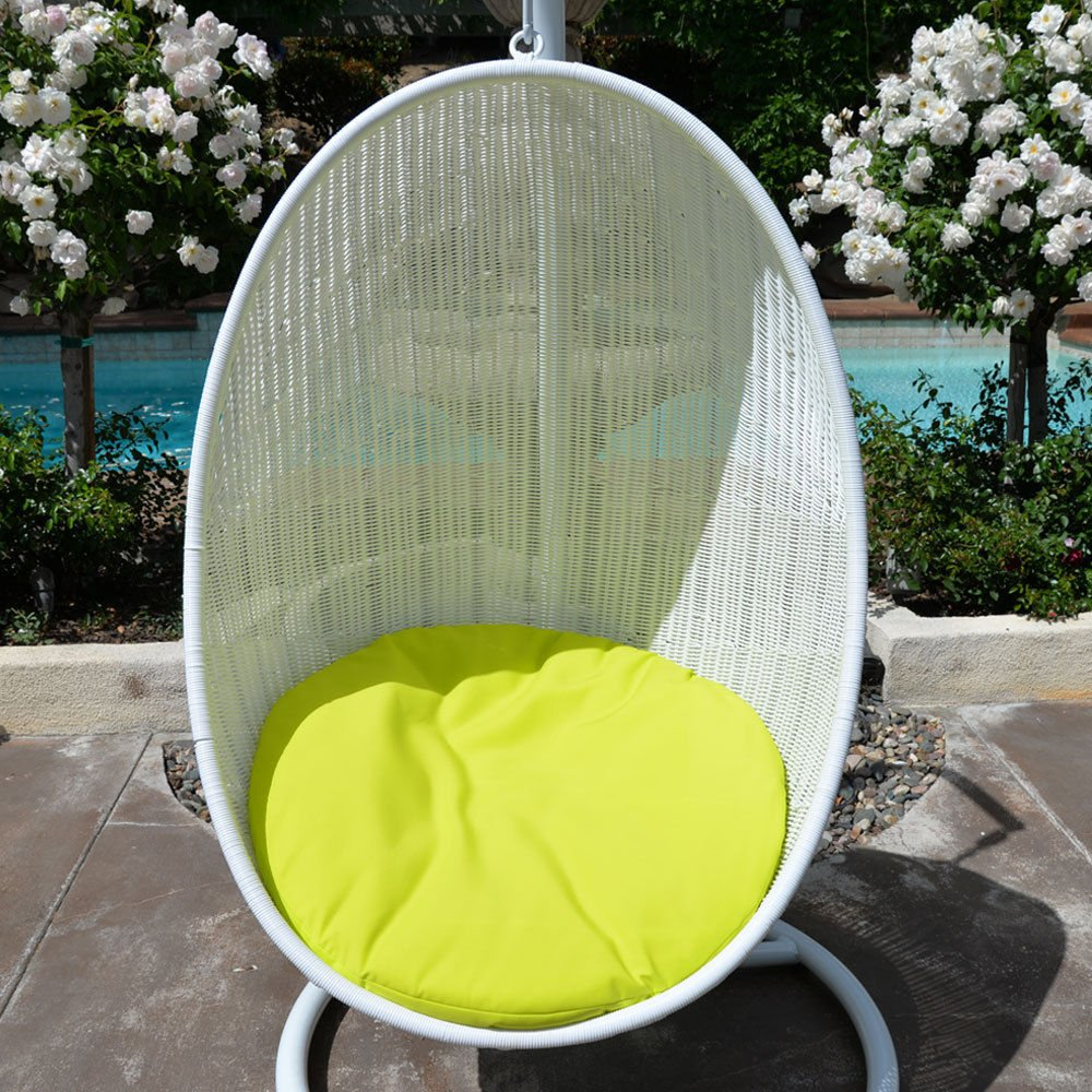 White Neon Yellow Egg Shape Wicker Rattan Swing Bed Chair Weaved Hanging Hammock