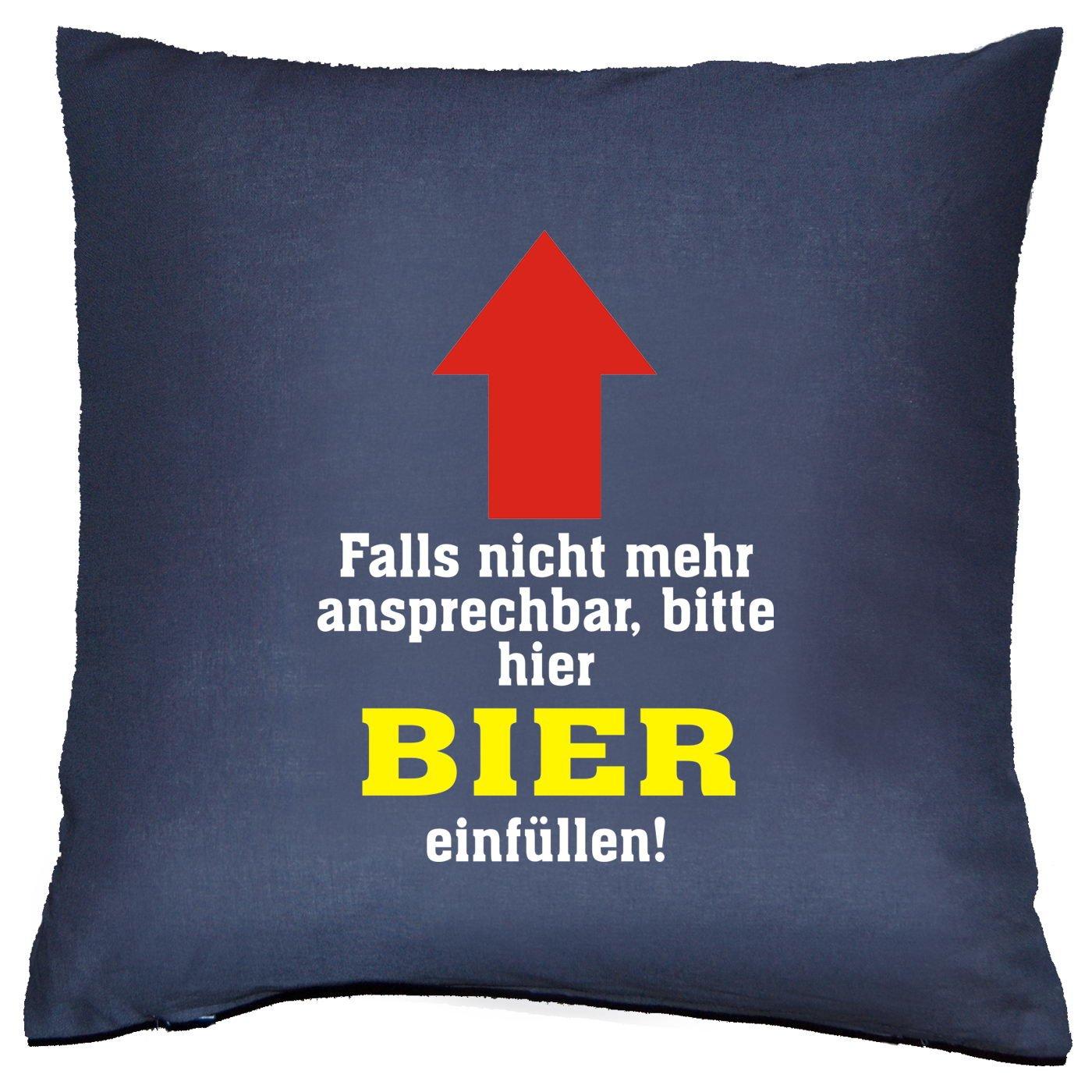 bedrucktes Sofa Kissen mit Füllung - Spruch: Falls nicht mehr ansprechbar... - cooles lustiges Geschenk Couchkissen Dekokissen Geburtstag Weihnachten