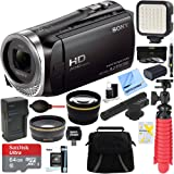 Sony HDR-CX455/B Full HD Handycam Camcorder with Exmor R CMOS Sensor + MIC-403 Mini Zoom Microphone + 64GB MicroSDXC Accessory Bundle