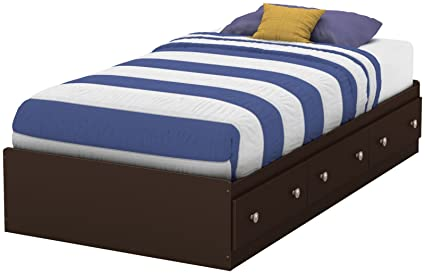 South Shore Furniture 39'' Morning Dew Mates Bed, Twin, Chocolate