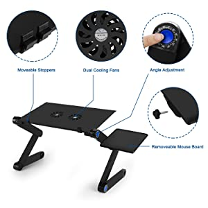 Laptop Table, Adjustable Laptop Bed Table, Laptop Computer Stand, Portable Laptop Workstation Notebook Stand Reading Holder with 2 CPU Cooling Fans and Mouse Pad in Bed Couch Sofa Office (New-version) (Color: New-version)
