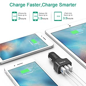 iXCC 36W/7.2A 3 Port Car Charger, Fast Car Charger Adapter for iPhone 7s 6s Plus, USB Car Charging Ports for Galaxy S8 S7 S6 Edge, iPad Pro Air Mini,