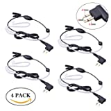 Bonmixc Walkie Talkie Earpiece, 2.5mm/3.5mm 2-Pin Walkie Talkie Headset with PTT Mic, Compatible with Motorola Two-Way Radios (4 PACK) (Color: 2.5mm/3.5mm 2-Pin (4 Pack))