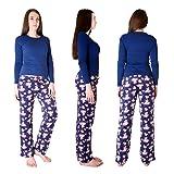 Cherokee Women's 2 Piece Pajama Set, Water Color Floral/Blue, L