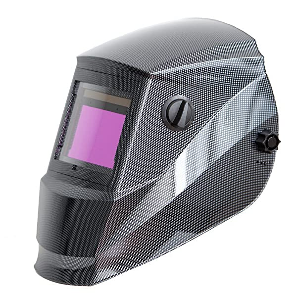 Antra AH6-660-001X Auto Darkening Welding Helmet Large Viewing 3.86X2.50 Wide Shade Range 4/5-9/9-13 Engineered for TIG MIG/MAG MMA Plasma Grinding, Solar-Lithium Dual Power, 6+1 Extra Lens Covers (Color: Carbin Fibre, Tamaño: Extra Large Viewing Size 3.78''X2.5'')