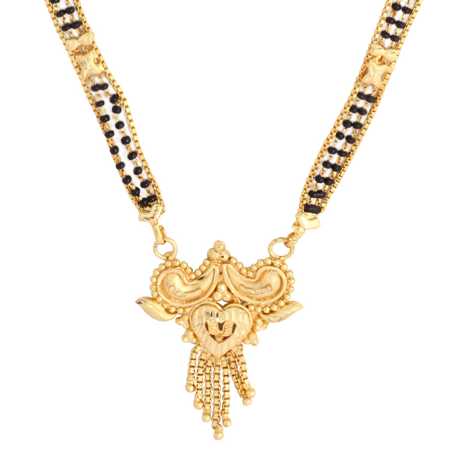 Golden & Black 23.5K Gold Plated 4 Line 472Ms 30 Inch Mangalsutra Necklace For Women