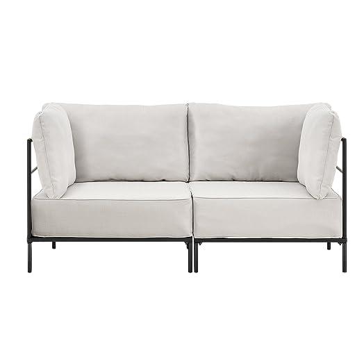 [en.casa]® Divano individualmente integrabile beige - 2 posti - divano - consiste da 2 montature e cuscini imbottitio - tessuto