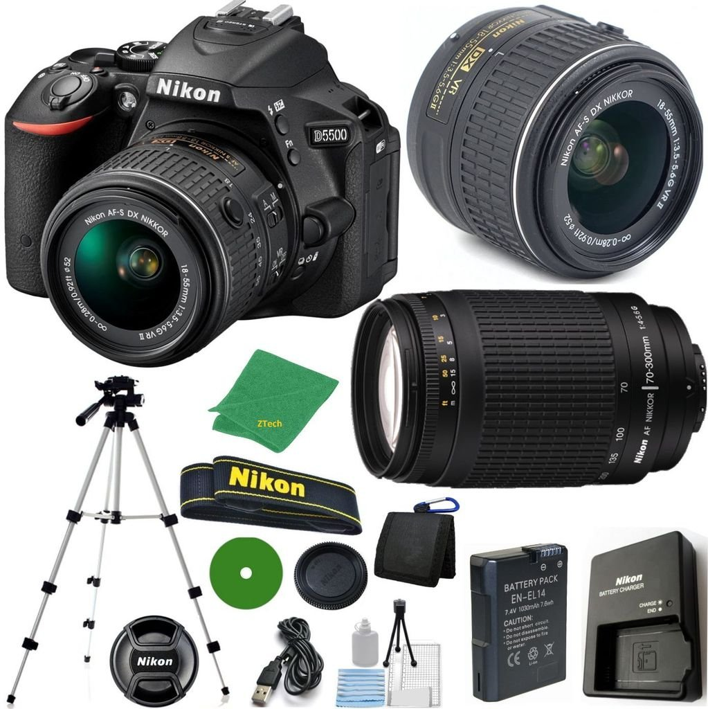 Nikon D5500 DX-Format DSLR Digital Camera Body, Nikon 18-55mm VR Lens, Nikon 70-300mm f/4-5.6G Auto Focus Nikkor, Tripod, 6pc Cleaning Set