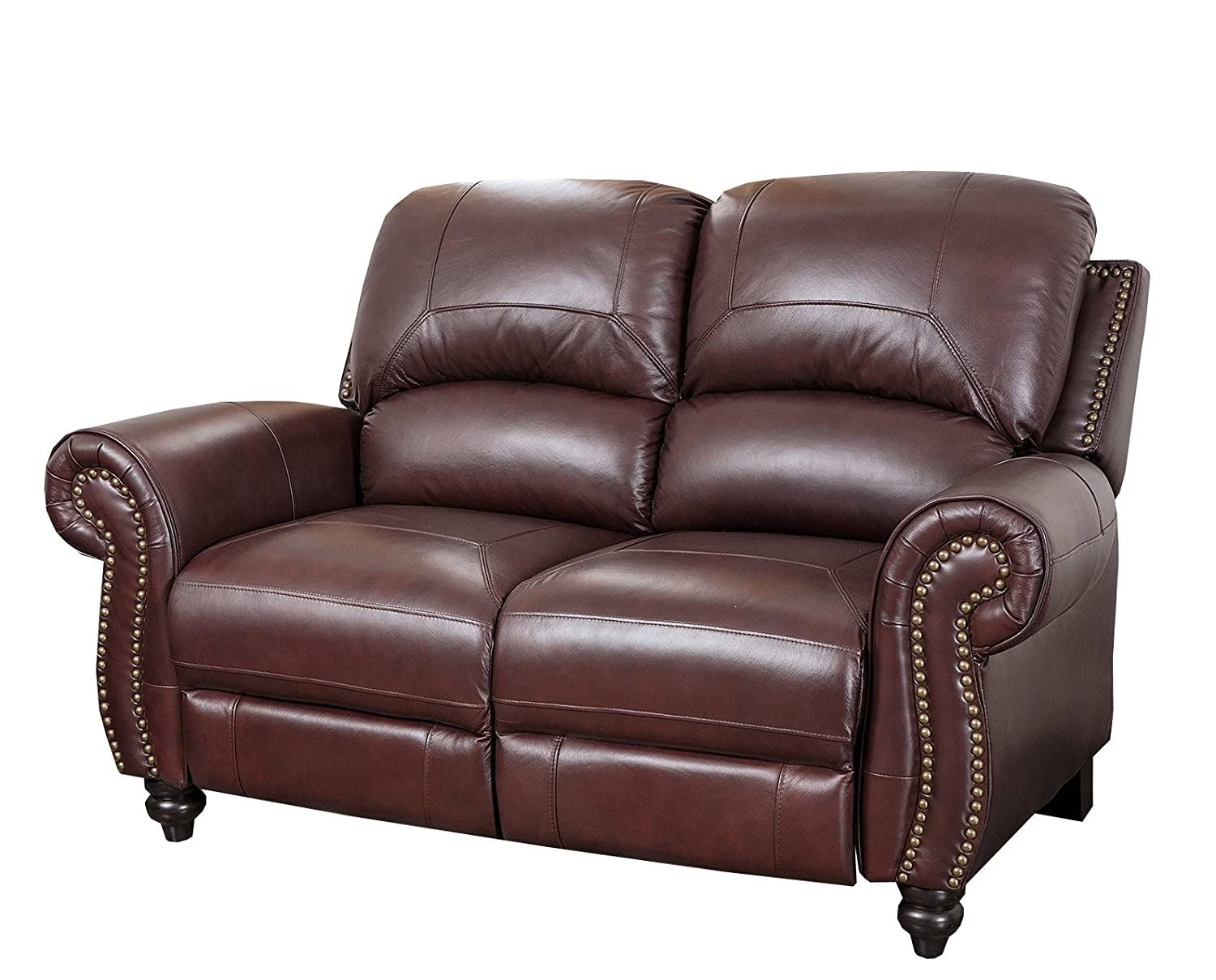 Abbyson Living Durham Leather Pushback Reclining Loveseat