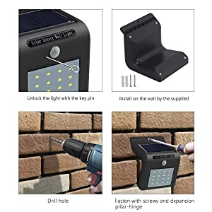 hiraforl Solar Wall Lights 16 LED Waterproof Wireless Motion Sensor Security Wall Light, Step Solar Lights Outdoor, for Porch Patio, Deck, Yard, Garde
