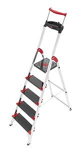 HAILO 8895001 AluSicherheitsHaushaltsleiter mit MultifunktionsSchale und SicherheitsHaltebügel. Belastbar bis 225 kg. 5 Stufen   Kritiken und weitere Infos