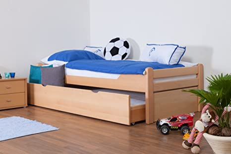 """Children's bed / Youth bed """"Easy Sleep"""" K1/1h includes 2nd reclining surface and 2 fillers, 90 x 200 cm Buche solid, natural beech wood"""
