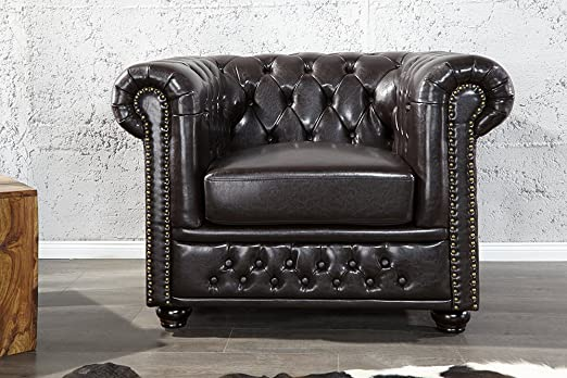 Invicta Interior 9684 Chesterfield Sessel mit Nietenbesatz, dark coffee