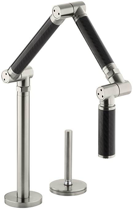 KOHLER K-6227-C12-VS Karbon Articulating Deck-Mount Kitchen Faucet with Black Tube, Vibrant Stainless
