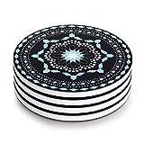Lifver 4-Piece Coasters Porcelain Modern Jewelry Blue Sets