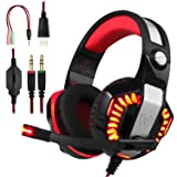 BlueFire Professional Stereo Gaming Headset for PS4, Xbox One Headphones with Mic and LED Lights for Playstation 4, Xbox One, PC (Red) (Color: Red)