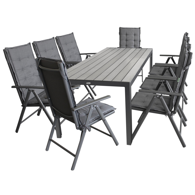 17tlg. Gartengarnitur Gartenmöbel Terrassenmöbel Set Sitzgarnitur Sitzgruppe Polywood 205x90cm grau + 8x Hochlehner, 2×2 Textilenbespannung, Lehne 7-fach verstellbar + 8x Stuhlauflage günstig kaufen