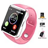 COSROLE Bluetooth Smart Watch, A1 Touch Screen Smart Wrist Watch with 8GB SD Card & Two Batteries & Screen Protector for Samsung Xiaomi Huawei Sony HTC LG Android Smartphones - Pink (Color: Pink)