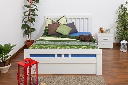 """Tagesbett / Funktionsbett """"Easy Sleep"""" K8 inkl. 4 Schubladen und 2 Abdeckblenden, 140 x 200 cm Buche Vollholz massiv weiß lackiert"""