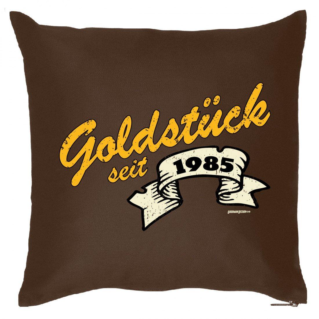 Goldiges Couch Kissen mit Jahrgang zum Geburtstag – Goldstück seit 1985 – Sofakissen Wendekissen mit Spruch und Humor günstig kaufen