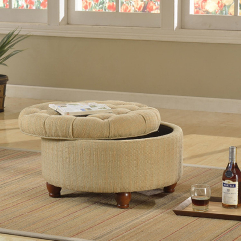 kinfine tweed tufted storage ottoman in tan cream n8264