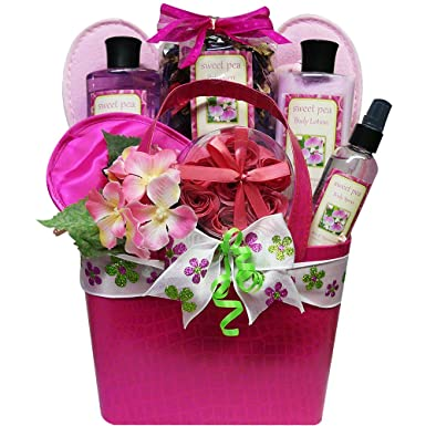 Art of Appreciation Gift Baskets Tickled Pink Sweet Pea Spa Bath and Body Set