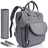 Lictin Multi-Function Waterproof Nappy Changing Backpack with Changing Pad and Insulated Pocket Roomy Diaper Tote for Mom & Dad, with 2 Stroller Hooks