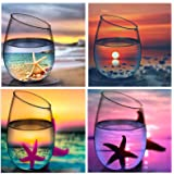 5D Full Drill Diamond Painting Kit,Hartop DIY Diamond Rhinestone Painting Kits Ocean Cups for Adults and Beginner,Embroidery Arts Craft Home Office Decor, 12X12 Inch (Color: 4 Pack of Cup Scenery)
